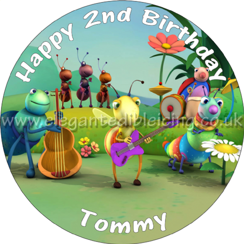 BIG BUGS BAND BIRTHDAY CAKE TOPPER EDIBLE PERSONALISED BABY TV PARTY CAKE TOPPER